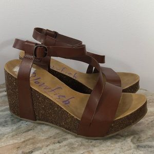 Blowfish Wedge Sandals Size 8 Brown Shoes